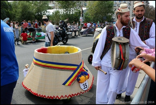 Red Bull Soapbox Race Bucharest--clop -- traditional Romanian straw hat