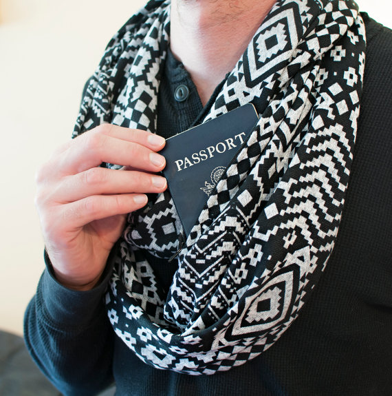 Travel Scarf with Hidden Pocket stocking stuffers for men Christmas gift ideas