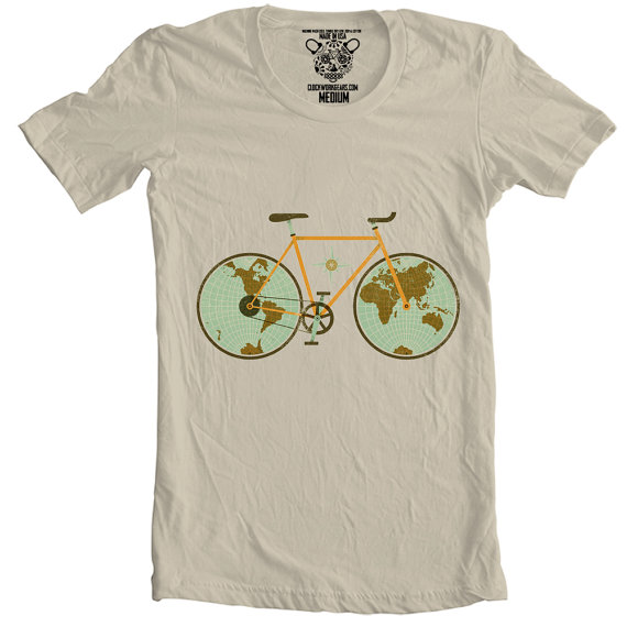 World Traveller Bicycle T shirt stocking stuffers for men Christmas gift ideas