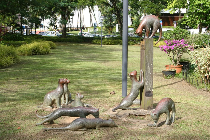 Cat sculpture, Kuching waterfront, Sarawak, Borneo, Malaysia