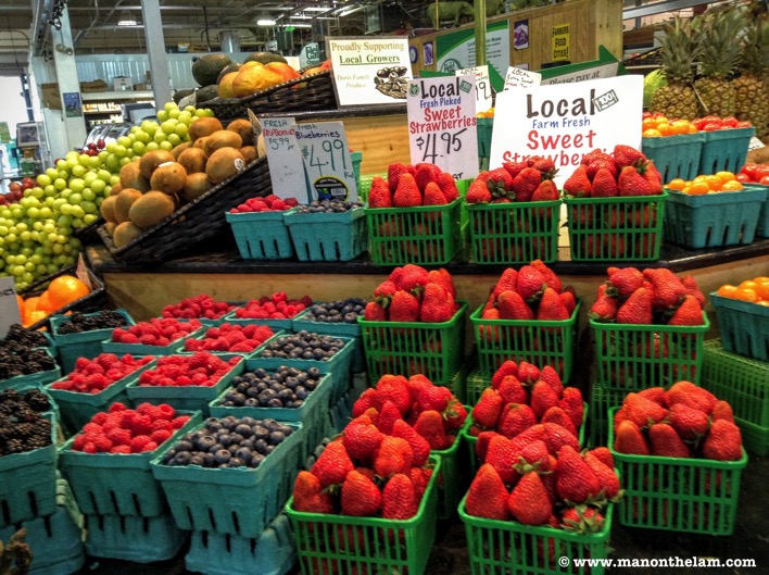 Fresh fruit and vegetables at St Laurence Market Toronto Canada