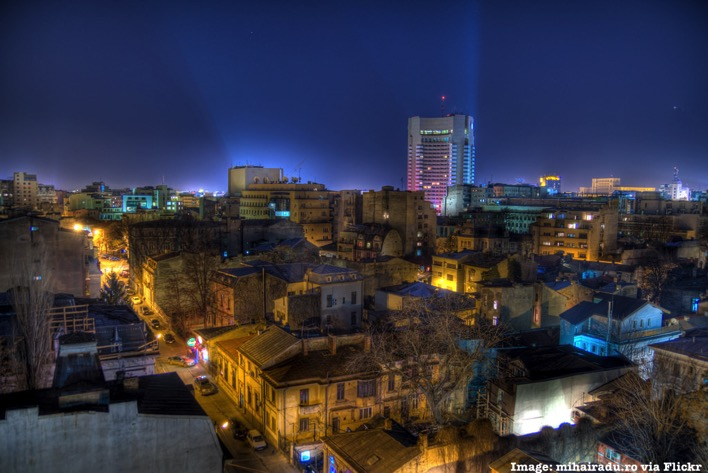 Bucharest Romania at night