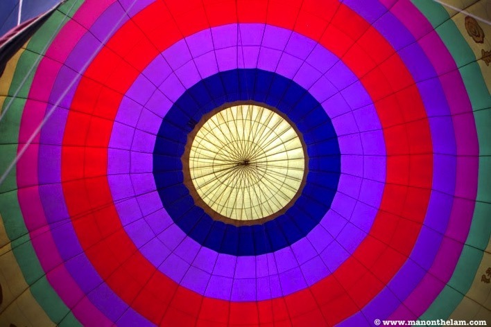 Interior of hot air balloon Balloons over Vang Vieng Laos