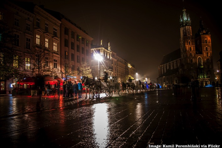 Krakow Poland at night