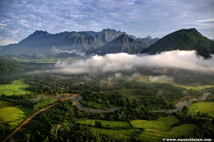 View from hot air balloon in Vang Vieng Laos