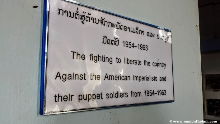 Lao National Museum American imperialist pupper soldiers sign