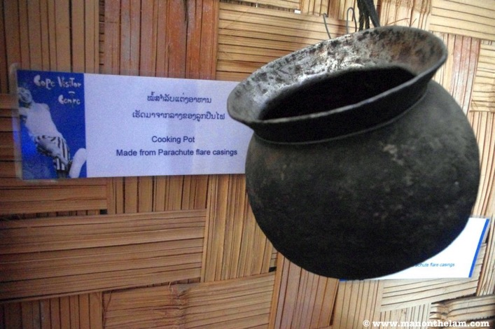 COPE Visitor Centre Vientiane Laos cooking pot made from parachute flare casings