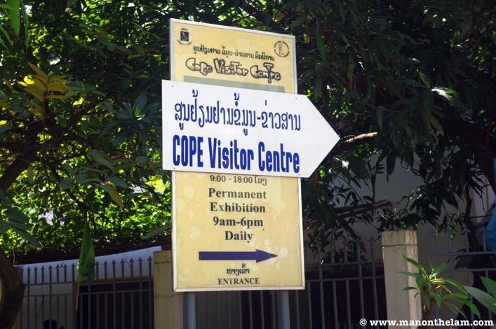 COPE Visitor Centre Vientiane Laos entrance sign on Boulevard Khouvieng Vientiane LaosJPG
