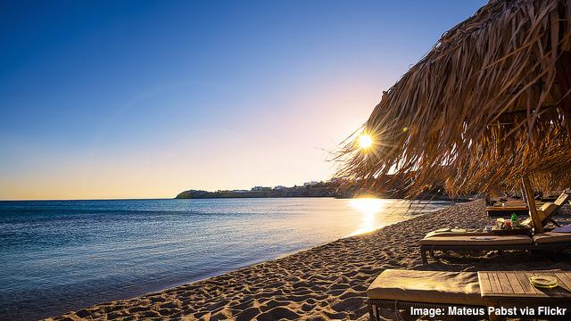 Sunset at Paradise Beach Mykonos Greece