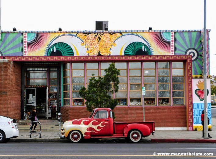 Los Angeles California Flames red vintage truck