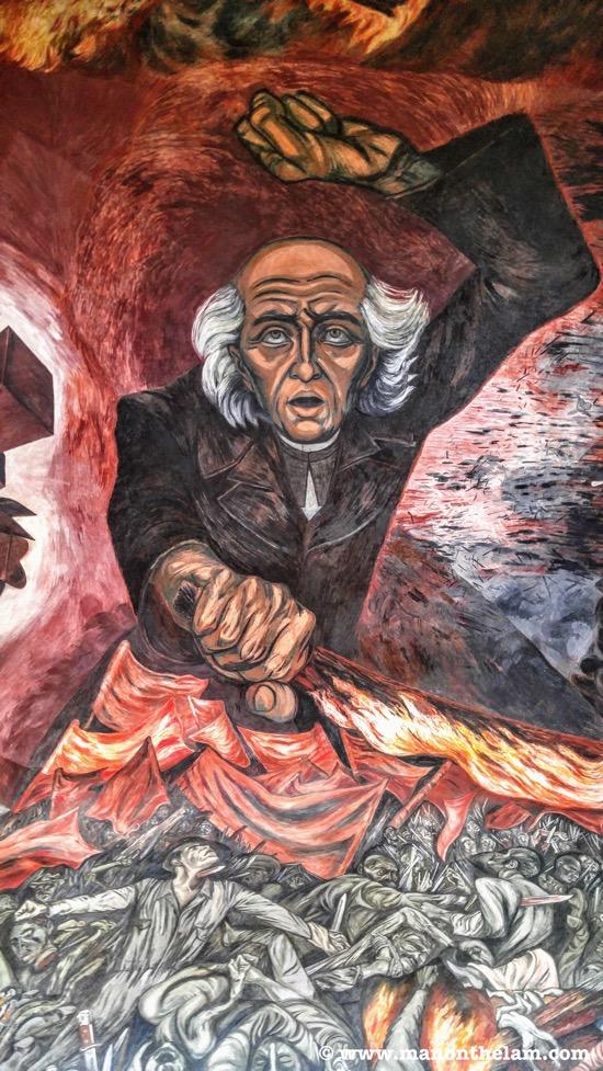 Palacio de Gobierno murals Guadalajara Mexico Jose Clemente Orozco and Miguel Hidalgo