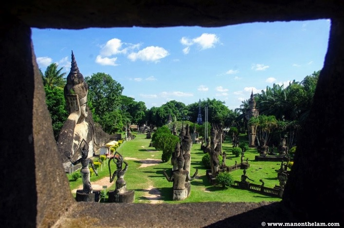 Buddha Park Vientiane Laos view from inside giant pumpkin