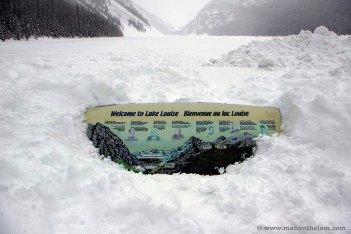 Frozen welcome to Lake Louise sign Banff National Parkl things to do Alberta CANADA