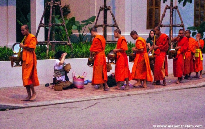 Alms giving ceremony Tat Bak Luang Prabang Laos things to do
