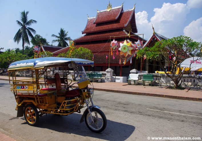LUANG PRABANG LAOS TUK TUK AND TEMPLE