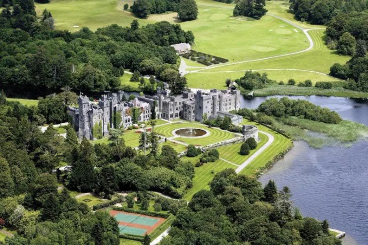 Ashford Castle Hotel, Co. Galway Ireland. Viewed from the air