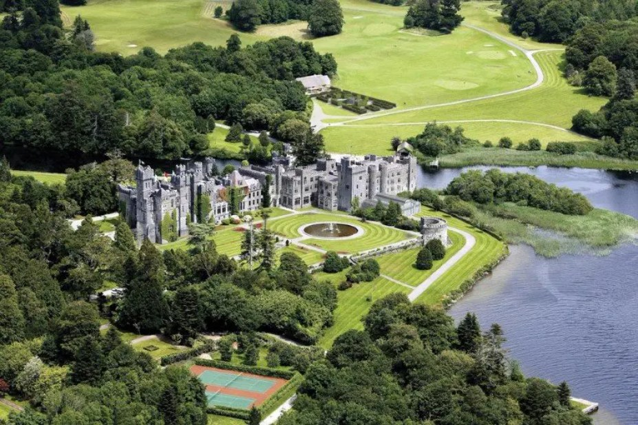 Ashford Castle Hotel, Co. Galway, Ireland, viewed from the air