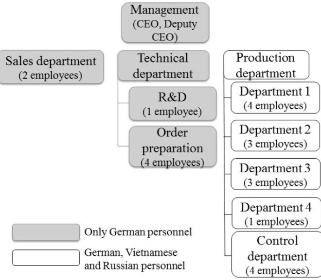 Organizational structure of the manufacturing, small company