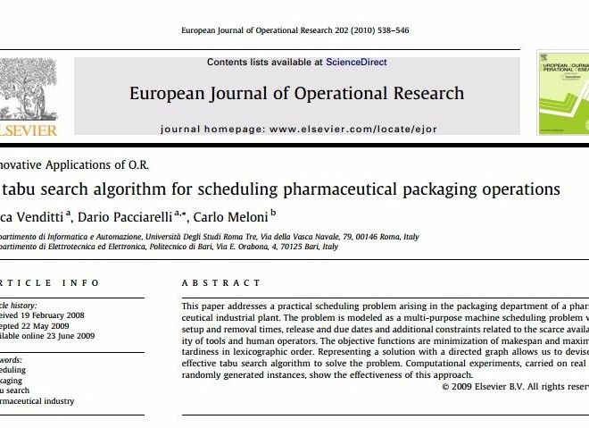 A tabu search algorithm for scheduling pharmaceutical packaging operations – PDF Download