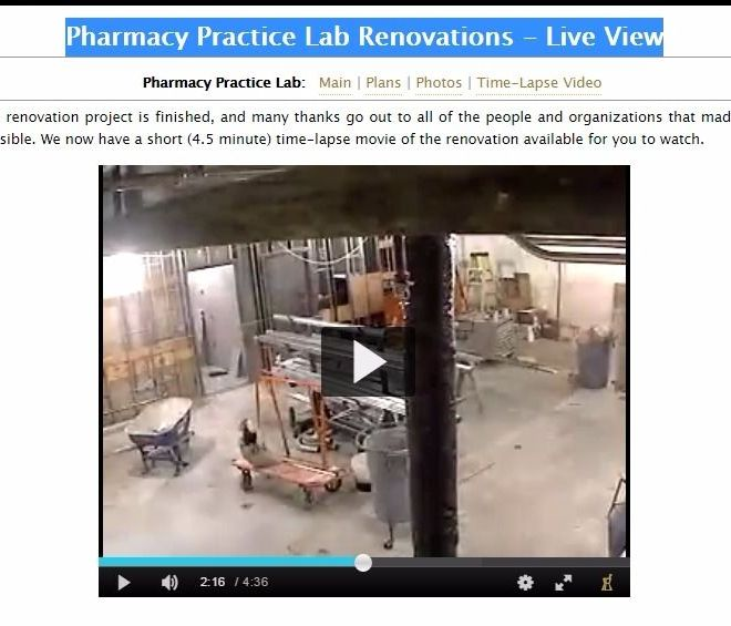 Pharmacy Practice Lab Renovations – Live View