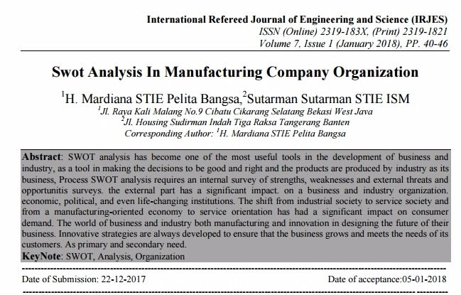 Swot Analysis In Manufacturing Company Organization – PDF Download