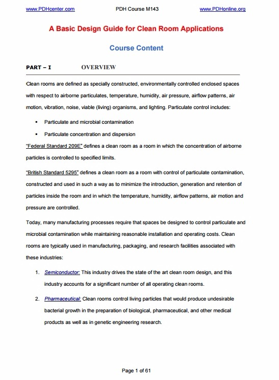 Basic Design Guide for Clean Room PDF Download M A N O X B L O G