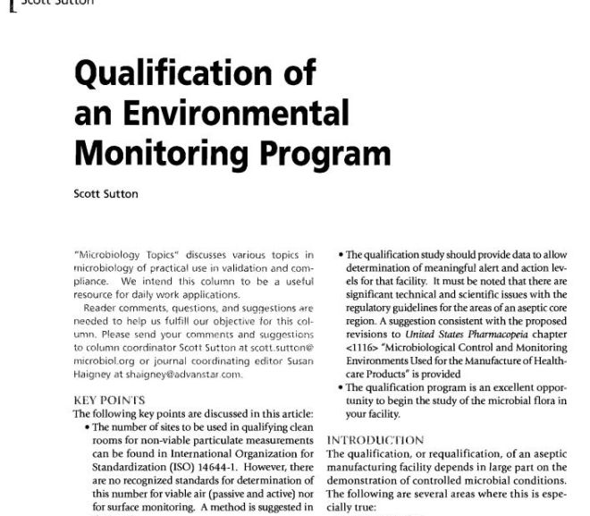 Qualification of an Environmental Monitoring Program