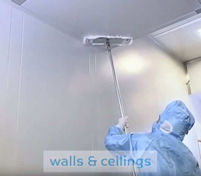 Wiping of floors, ceilings and walls