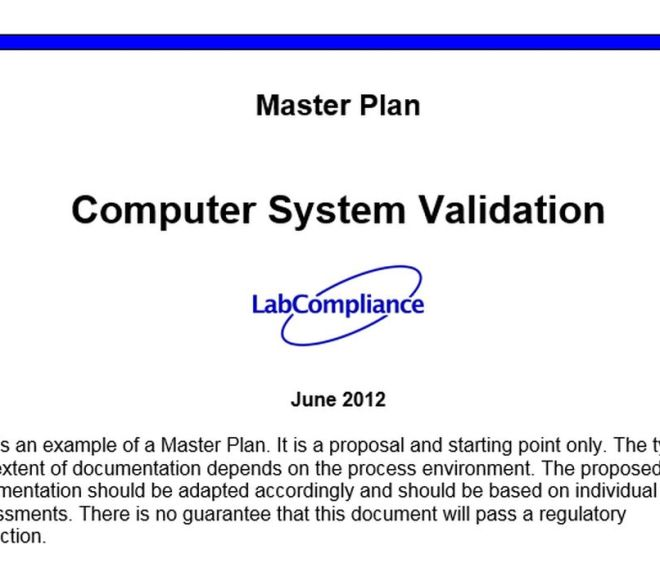Computer System Validation – Master Plan – Fee Word DOC file download