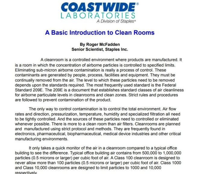 A Basic Introduction to Clean Rooms – Free PDF download