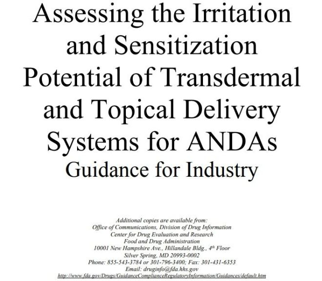 Assessing the Irritation and Sensitization Potential of Transdermal and Topical Delivery Systems for ANDAs Guidance for Industry