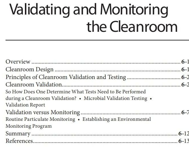 Validating and Monitoring the Cleanroom