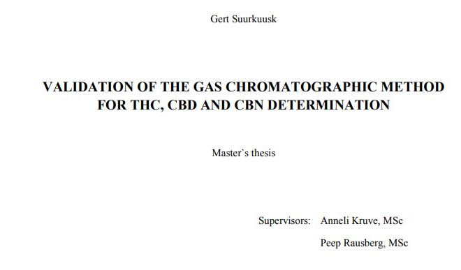 VALIDATION OF THE GAS CHROMATOGRAPHIC METHOD FOR THC, CBD AND CBN DETERMINATION