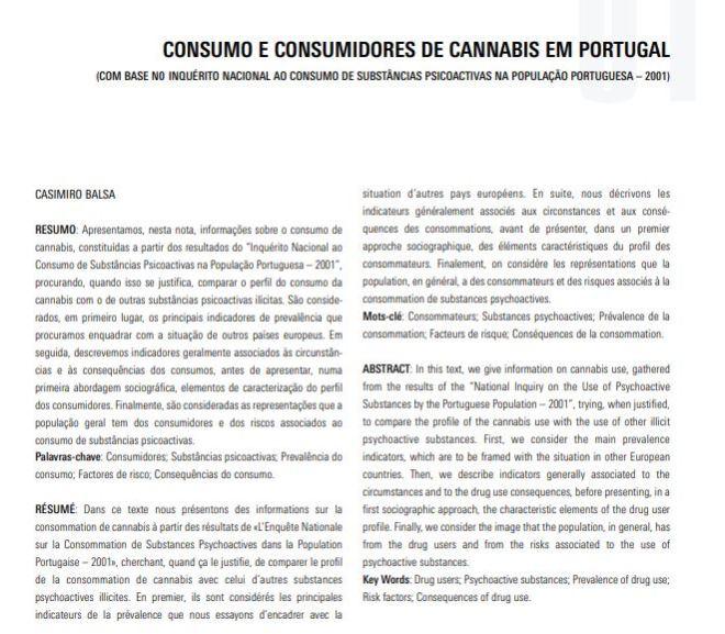 Consumo e consumidores de Cannabis em Portugal