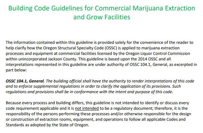 Building Code Guidelines for Commercial Marijuana Extraction and Grow Facilities