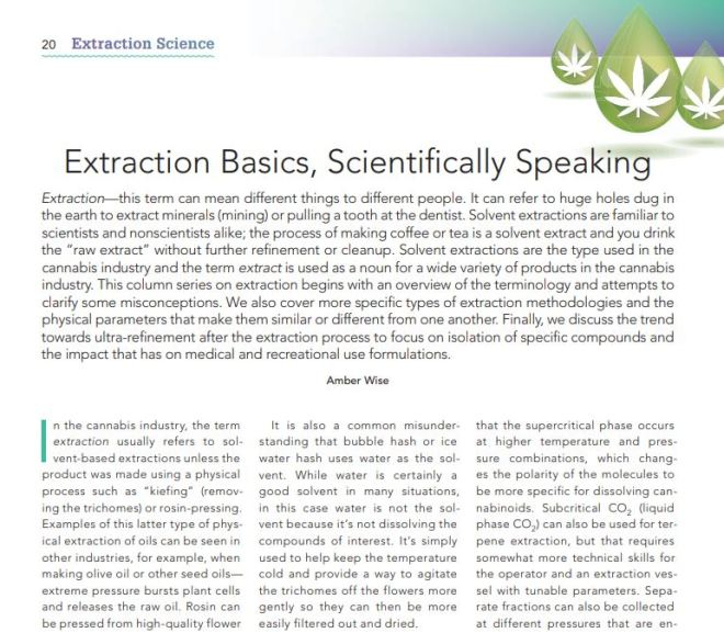 Cannabis: Extraction Basics, Scientifically Speaking