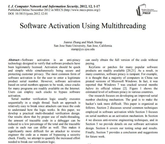 Software Activation Using Multithreading