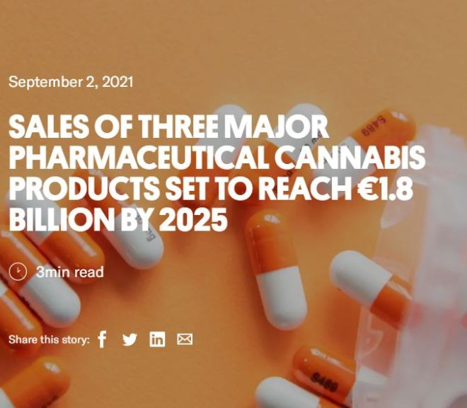 SALES OF THREE MAJOR PHARMACEUTICAL CANNABIS PRODUCTS SET TO REACH €1.8 BILLION BY 2025