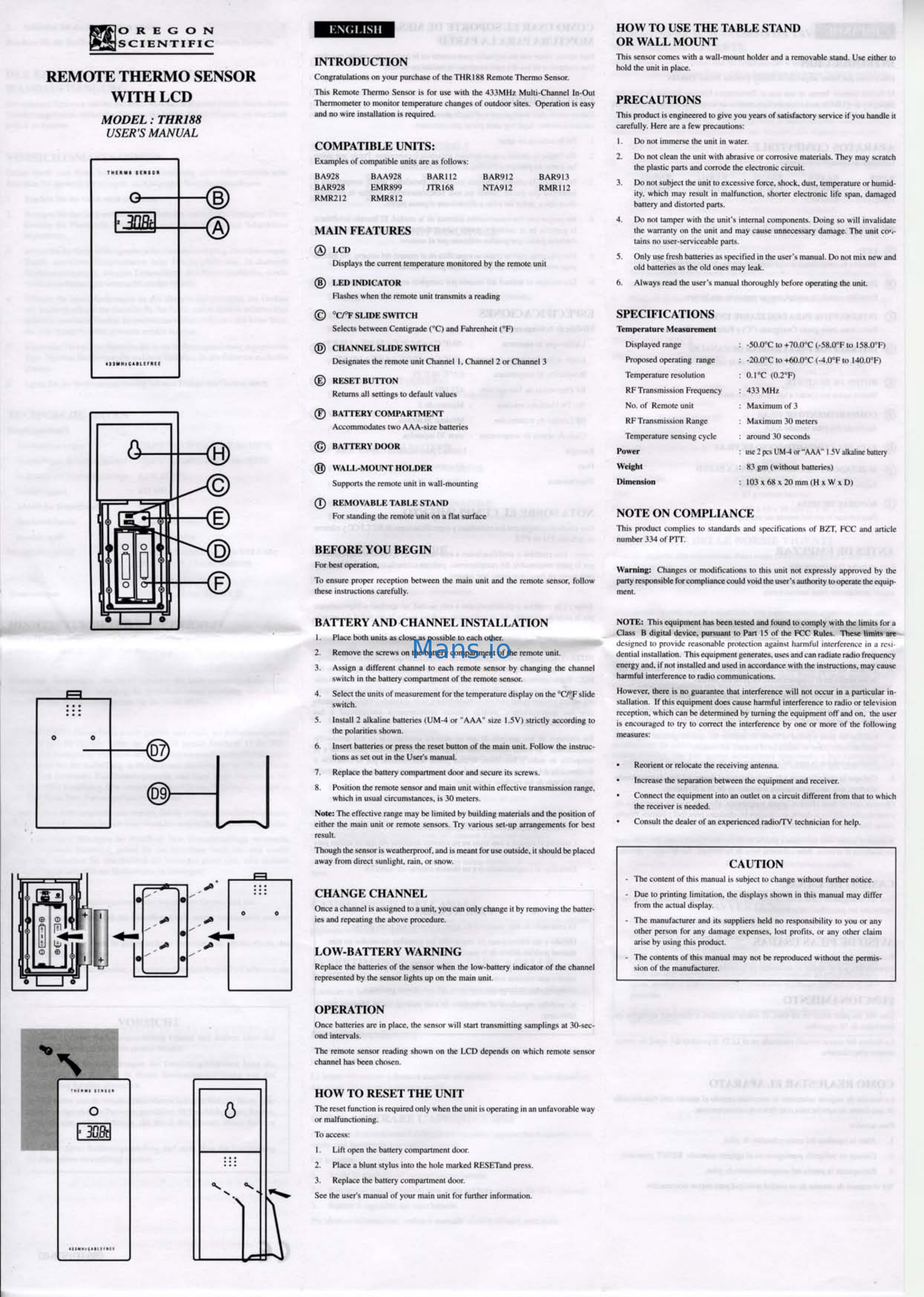 Oregon Scientific THR188 User Manual Page: 1