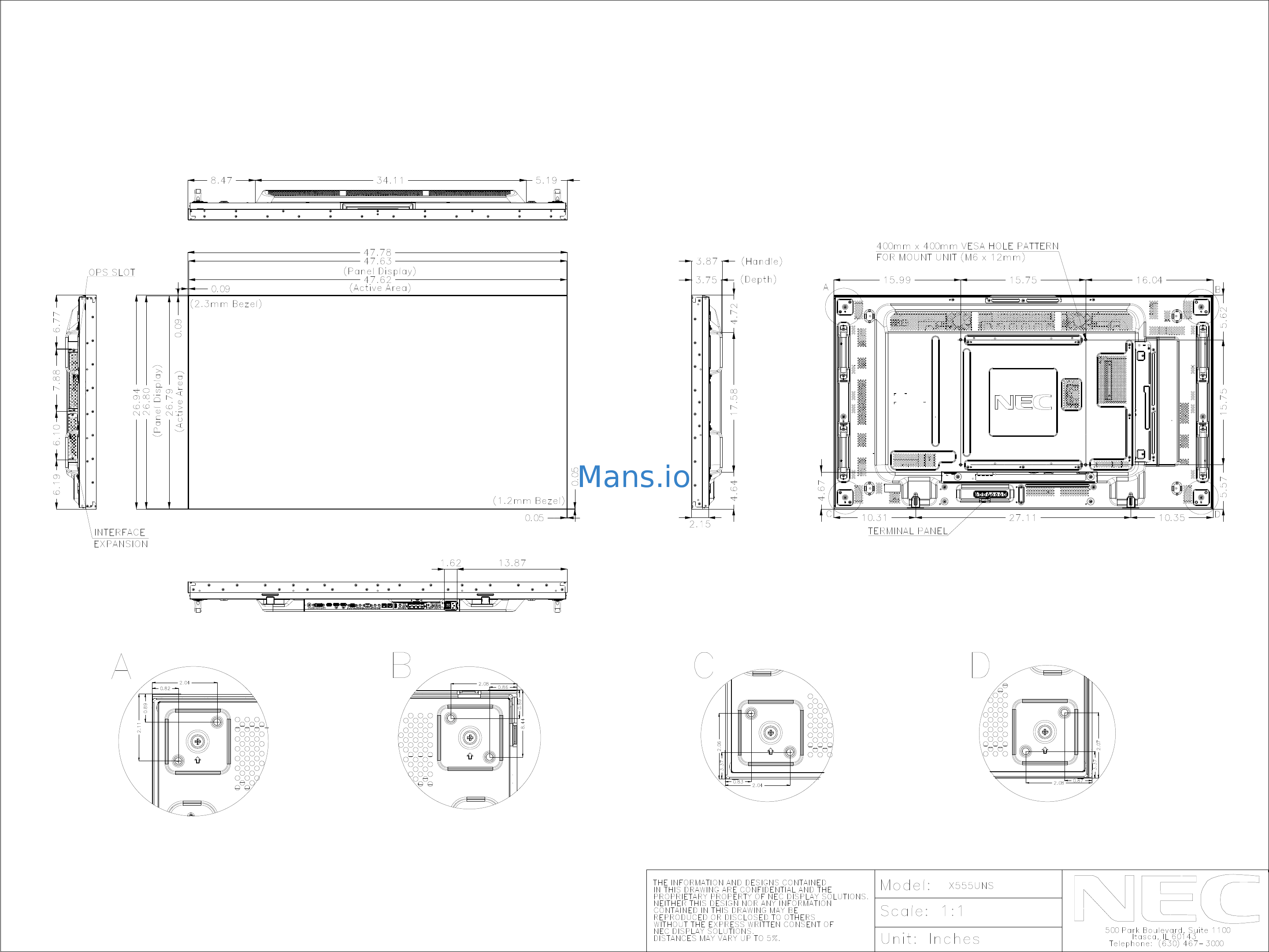 Nec X555UNS-TMX9P Mechanical Drawing Page: 1