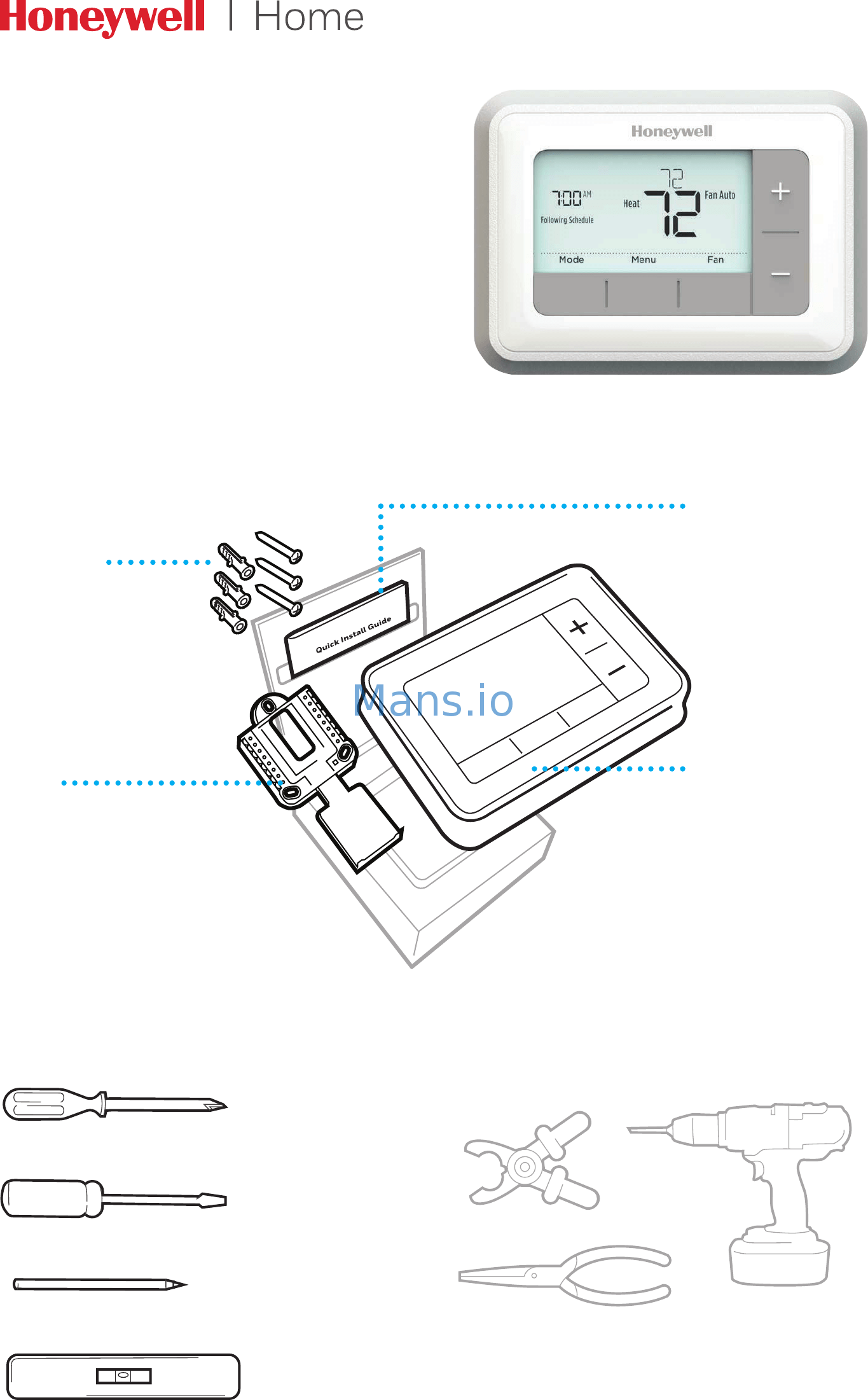 Honeywell RTH7560E Instructions / Assembly Page: 1