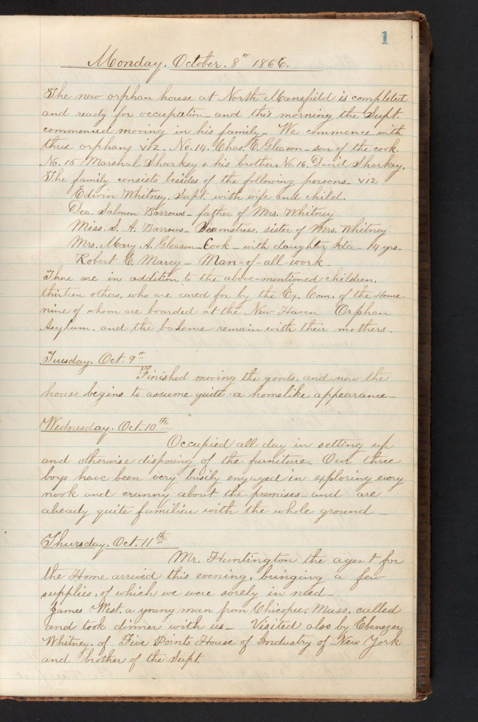 CT Soldiers' Orphans' Home Record Book