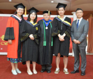 (L-R) Assistant Professor Yucong Liu, Mona Hongning Mao, Provost Steven Siconolfi, Ted Zexuan Zhang, unidentified Chinese official.