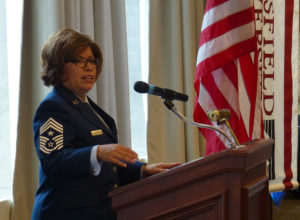 Command Chief Master Sergeant Regina Stoltzfus of the Pennsylvania Air National Guard was the guest speaker.