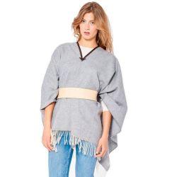 poncho claro gris mujer lana ponchos