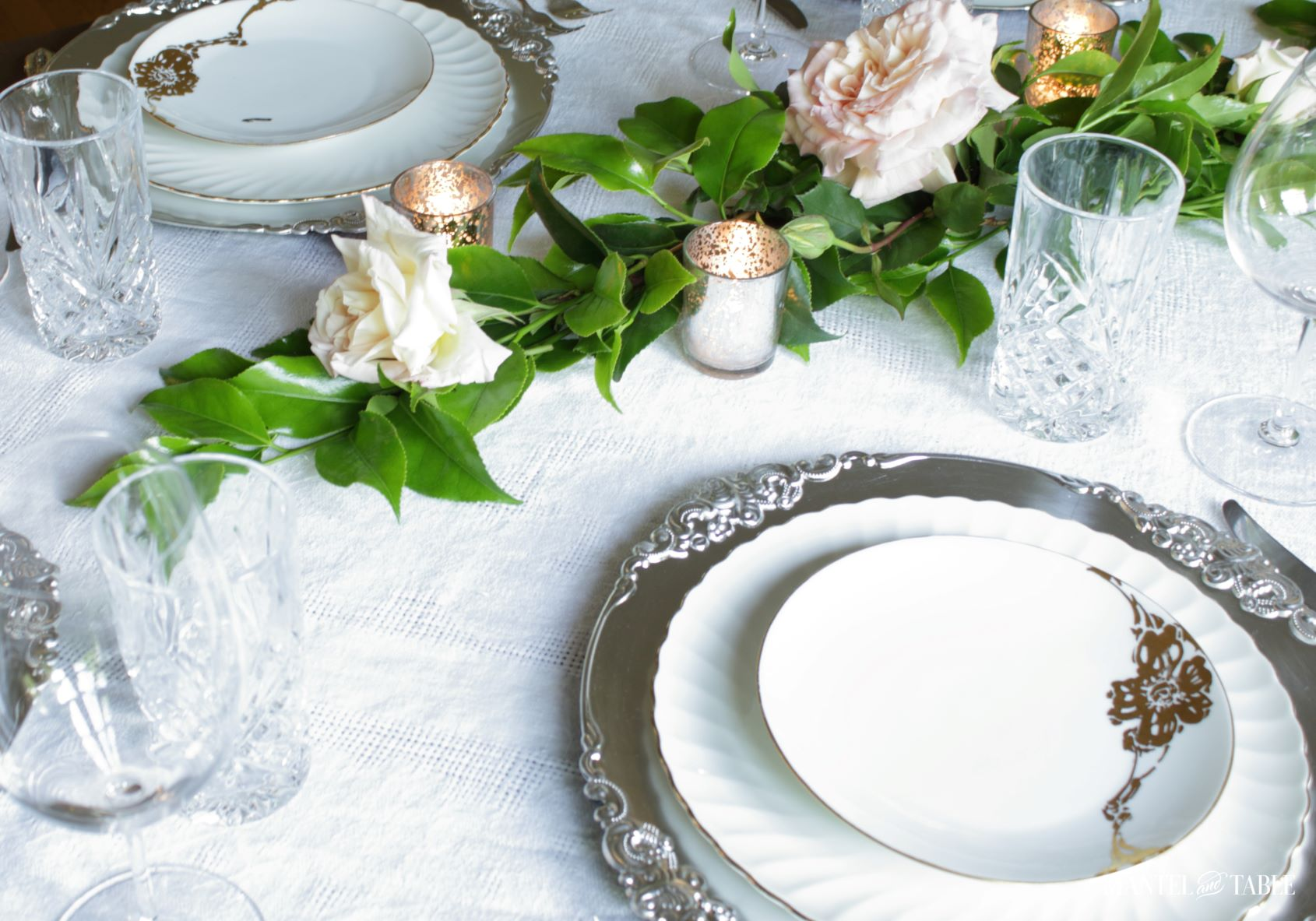 Romantic White Table Setting ~ plate stack and rose garland