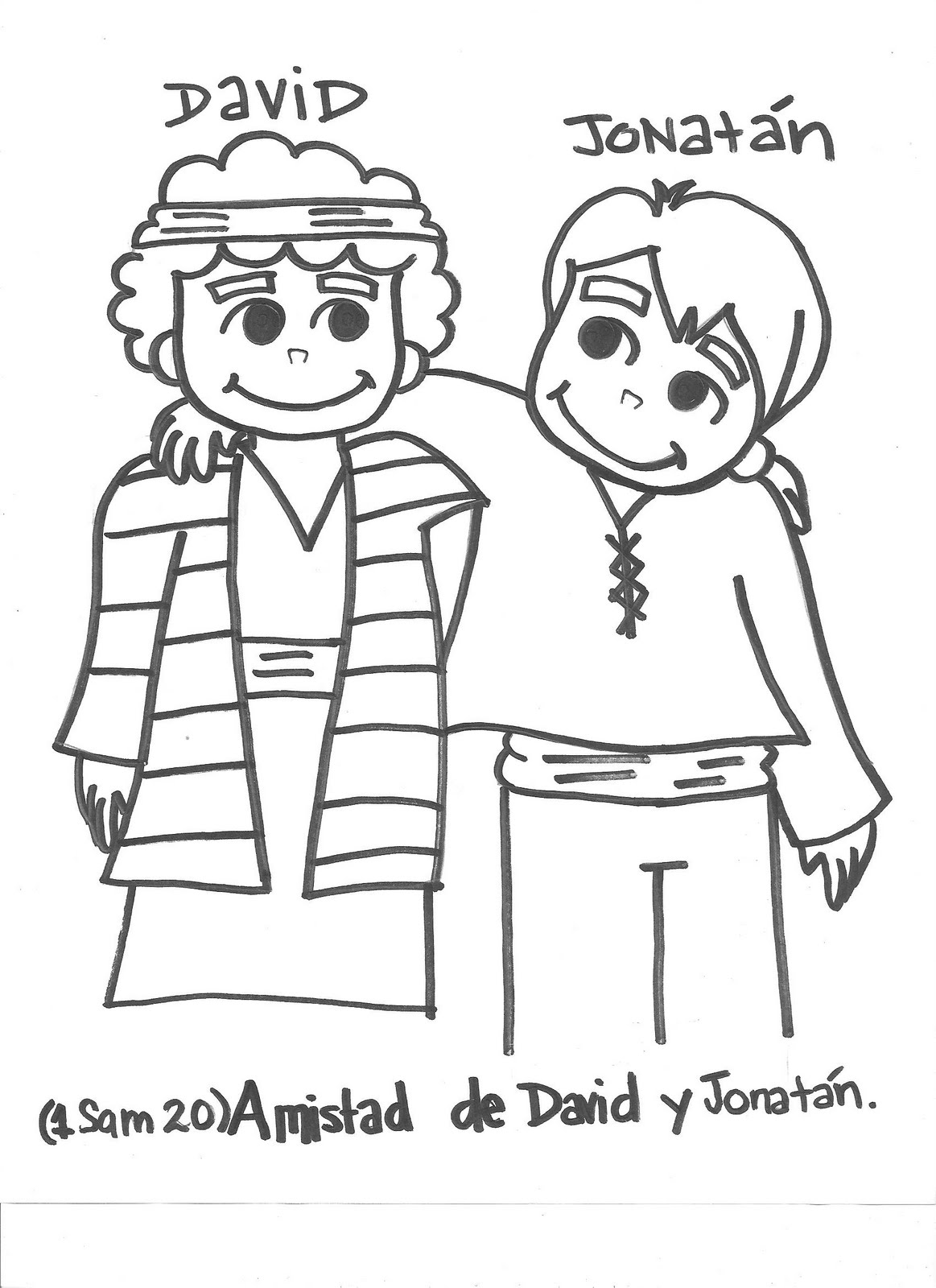 David And Jonathan Bible Coloring Pages Sketch Coloring Page