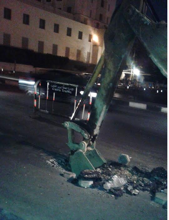 هبوط أرضي بشارع التحرير