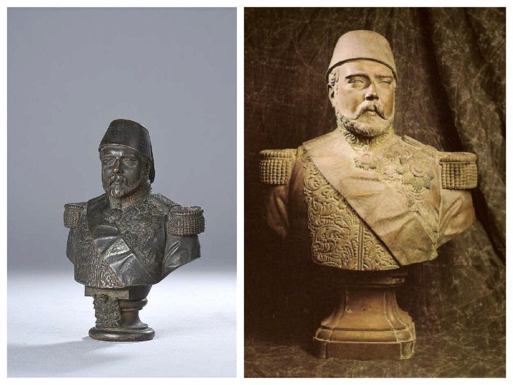 من اليمين إلى اليسار، صورة للتمثال النصفي الأصلي للخديوي إسماعيل، والأخرى نسخة مقلدة