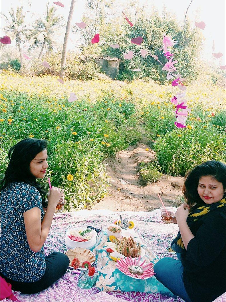 Two girls enjoying the food